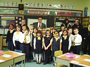 Roefaro and Students at Our Lady of Lourdes Elementary