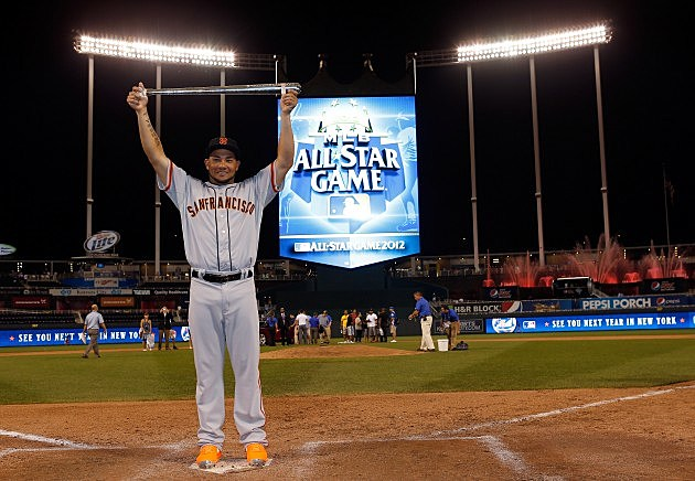 KANSAS CITY, MO - JULY 10: National League All-Star Melky Cabrera #53 of the San Francisco Giants holds up the Ted Williams Most Valuable Player Award after the National League won 8-0 during the 83rd MLB All-Star Game at Kauffman Stadium on July 10, 2012 in Kansas City, Missouri. (Photo by Jamie Squire/Getty Images)