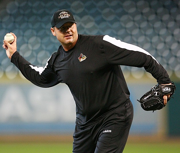 HOUSTON - JANUARY 31: Roger Clemens throws batting practice during the Nolan Ryan and Jeff Bagwell Elite Camp January 31, 2008 at Minute Maid Park in Houston, Texas. (Photo by Bob Levey/Getty Images)