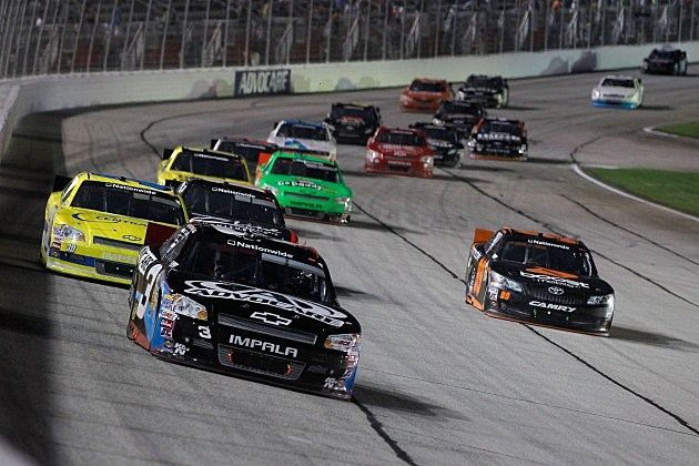 HAMPTON, GA - SEPTEMBER 01: Austin Dillon, driver of the #3 AdvoCare Chevrolet, leads a pack of cars during the NASCAR Nationwide Series NRA American Warrior 300 at Atlanta Motor Speedway on September 1, 2012 in Hampton, Georgia. (Photo by Tyler Barrick/Getty Images)