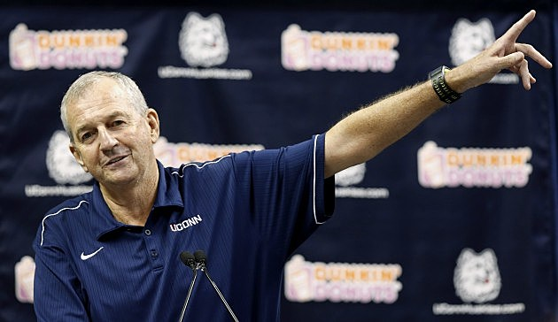 STORRS, CT- SEPTEMBER 13: University Of Connecticut basketball coach Jim Calhoun announces his retirement at a news conference on September 13, 2012 in Storrs, Connecticut. (Photo by Winslow Townson/Getty Images)