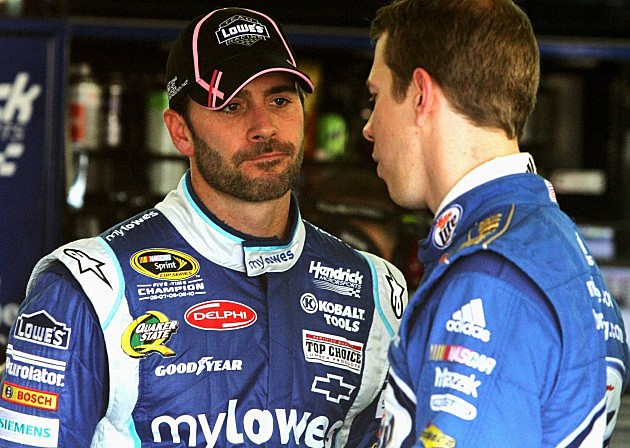 CHARLOTTE, NC - OCTOBER 11: Jimmie Johnson, driver of the #48 MyLowe's Chevrolet, talks to Brad Keselowski, driver of the #2 Miller Lite Dodge, in the garage area during practice for the NASCAR Sprint Cup Series Bank of America 500 at Charlotte Motor Speedway on October 11, 2012 in Charlotte, North Carolina. (Photo by Jerry Markland/Getty Images for NASCAR)