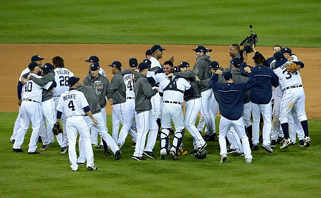 DETROIT, MI - OCTOBER 18: The Detroit Tigers celebrate on the field after they won 8-1 against the New York Yankees during game four of the American League Championship Series at Comerica Park on October 18, 2012 in Detroit, Michigan. (Photo by Jason Miller/Getty Images)