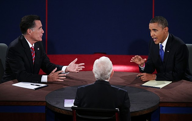 BOCA RATON, FL - OCTOBER 22: U.S. President Barack Obama (R) debates with Republican presidential candidate Mitt Romney as moderator Bob Schieffer listens at the Keith C. and Elaine Johnson Wold Performing Arts Center at Lynn University on October 22, 2012 in Boca Raton, Florida. The focus for the final presidential debate before Election Day on November 6 is foreign policy. (Photo by Win McNamee/Getty Images)