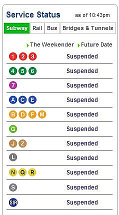 MTA website showing suspended service