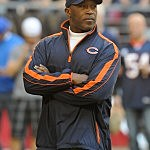 GLENDALE, AZ - DECEMBER 23: Head Coach Lovie Smith of the Chicago Bears watches pregame against the Arizona Cardinals at University of Phoenix Stadium on December 23, 2012 in Glendale, Arizona. (Photo by Norm Hall/Getty Images)
