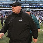EAST RUTHERFORD, NJ - DECEMBER 30: Head coach Andy Reid of the Philadelphia Eagles walks off the field after the game against the New York Giants at MetLife Stadium on December 30, 2012 in East Rutherford, New Jersey. The New York Giants defeated the Philadelphia Eagles 42-7. (Photo by Elsa/Getty Images)