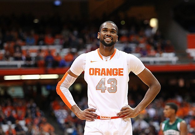 SYRACUSE, NY - DECEMBER 3: James Southerland #43 of the Syracuse Orange smiles as he stands on the court in between plays during the game against the Eastern Michigan Eagles at the Carrier Dome on December 3, 2012 in Syracuse, New York. (Photo by Nate Shron/Getty Images)