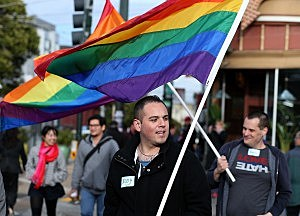 SAN FRANCISCO, CA - MARCH 25: Supporters of same-sex marriage carry Pride flags during a rally in support of marriage equality on March 25, 2013 in San Francisco, California. Supporters of same-sex marriage held a rally and are set to march through San Francisco a day before the U.S. Supreme Court will hear arguments on California's Proposition 8, the controversial ballot initiative that defines marriage as between a man and a woman. (Photo by Justin Sullivan/Getty Images)