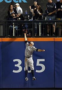 NEW YORK, NY - MAY 27: Brett Gardner #11 of the New York Yankees makes the catch for the out on a hit by Daniel Murphy #28 of the New York Mets in the sixth inning on May 27, 2013 at Citi Field in the Flushing neighborhood of the Queens borough of New York City. Both the New York Mets and the New York Yankees are wearing special uniforms to commemorate Memorial Day. (Photo by Elsa/Getty Images)