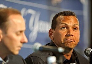 TAMPA - FEBRUARY 17: Infielder Alex Rodriguez (R) of the New York Yankees talks during a press conference as General manager Brian Cashman listens February 17, 2008 at the George M. Steinbrenner Field in Tampa, Florida. The Yankees third baseman admitted to taking a substance known as 'boli' acquired with his cousin in the Dominican Republic in 2001. (Photo by Al Messerschmidt/Getty Images)