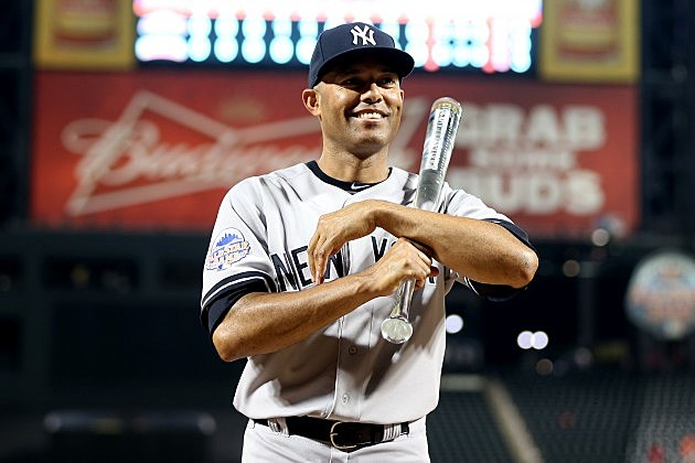 NEW YORK, NY - JULY 16: American League All-Star Mariano Rivera #42 of the New York Yankees poses with the MVP trophy after the 84th MLB All-Star Game on July 16, 2013 at Citi Field in the Flushing neighborhood of the Queens borough of New York City. (Photo by Elsa/Getty Images)