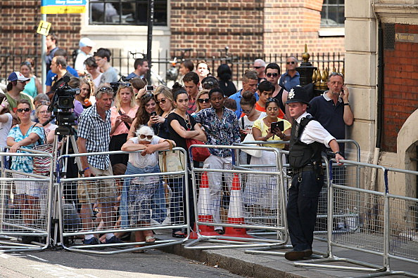 People waiting for the birth of the Duke and Duchess of Cambridge's baby outside of St. Mary's in London.