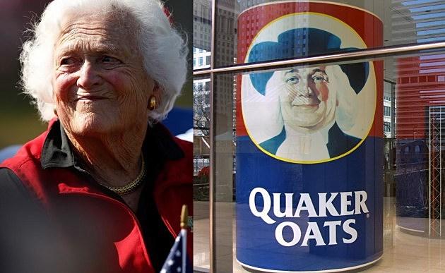 Does Barbara Bush look like the Quaker Oats guy?