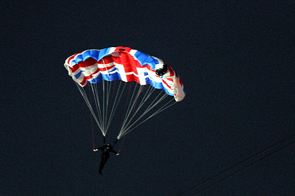 Mark Sutton and Gary Connery parachuting during opening ceremonies of London Olympics 2012