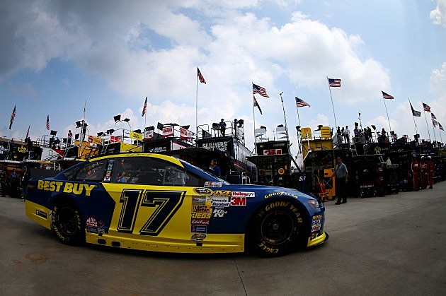 HAMPTON, GA - AUGUST 30: Ricky Stenhouse Jr. drives the #17 Best Buy Ford through the garage area during practice for the NASCAR Sprint Cup Series AdvoCare 500 at Atlanta Motor Speedway on August 30, 2013 in Hampton, Georgia. (Photo by Mike Ehrmann/Getty Images)