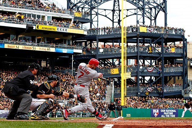 PITTSBURGH, PA - OCTOBER 07: Matt Holliday #7 of the St. Louis Cardinals hits a two run home run against Charlie Morton #50 of the Pittsburgh Pirates in the sixth inning during Game Four of the National League Division Series at PNC Park on October 7, 2013 in Pittsburgh, Pennsylvania. (Photo by Justin K. Aller/Getty Images)