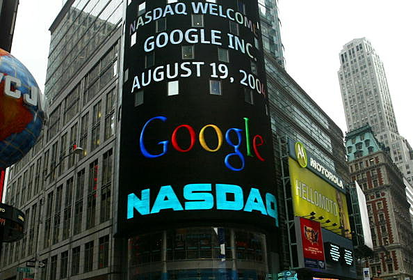 Google Becomes A Publicly Traded Company in 2004, tocks soar past $1,000 by Chris Hondros, Getty Images