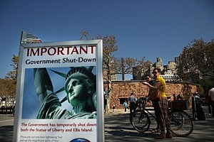 Government Shutdown Closes Statue Of Liberty by Spencer Platt, Getty Images