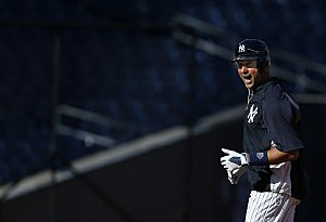 : NEW YORK, NY - SEPTEMBER 5: Derek Jeter #2 of the New York Yankees runs in the infield during batting practice before the start of their game against the Boston Red Sox at Yankee Stadium on September 5, 2013 in the Bronx borough of New York City. (Photo by Rich Schultz/Getty Images)