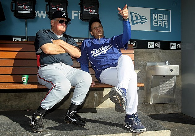 LOS ANGELES, CA - JUNE 04: Atlanta Braves manager Bobby Cox and Los Angeles Dodgers manager Joe Torre talk prior to the start of the game at Dodger Stadium on June 4, 2010 in Los Angeles, California. (Photo by Jeff Gross/Getty Images)