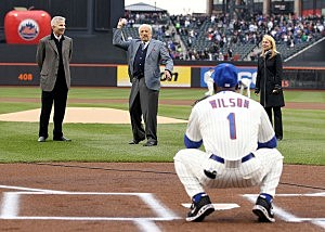 Ralph Kiner throws out ceremonial first pitch, April 8, 2011.