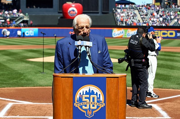 NEW YORK, NY - APRIL 05: New York Mets announcer and Baseball Hall of Famer Ralph Kiner speaks at the podium during pregame festivities against the Atlanta Braves during their Opening Day Game at Citi Field on April 5, 2012 in New York City. (Photo by Chris Chambers/Getty Images)