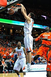CHARLOTTESVILLE, VA - MARCH 01: Mike Tobey #10 of the Virginia Cavaliers dunks the ball against the Syracuse Orange during the first half at John Paul Jones Arena on March 1, 2014 in Charlottesville, Virginia. (Photo by Rich Barnes/Getty Images)
