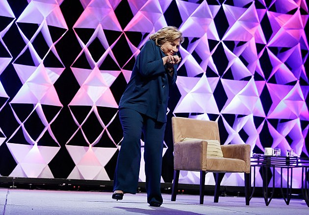 Clinton dodges a shoe while addressing Recycling Industries Trade Conference In Las Vegas (4/10/14) Isaac Brekken, Getty Images