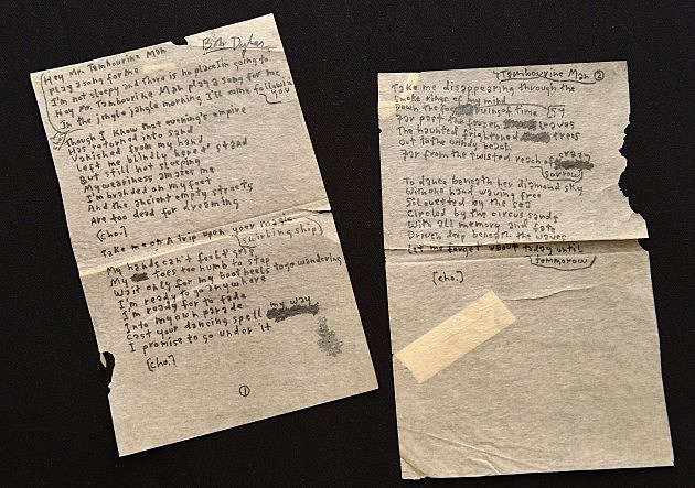 NEW YORK, NY - DECEMBER 03: Bob Dylan's handwritten lyrics for 'Mr. Tambourine Man' on display at 'Icons & Idols: Rock n' Roll' on December 3, 2013 in New York City. (Photo by Slaven Vlasic/Getty Images)