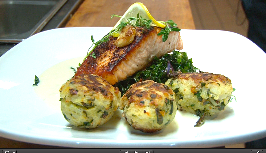 Chef Brian Benoit's Seared Salmon (Photo by Phil Creighton / WIBX)
