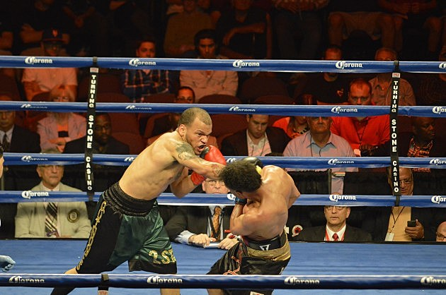 Sam Quinones Jr. def Greg Coverson Jr. via unanimous decision (June 6, 2014 ESPN Friday Night Fights at Turning Stone, Verona, NY - photo: Jeff Monaski, WIBX)