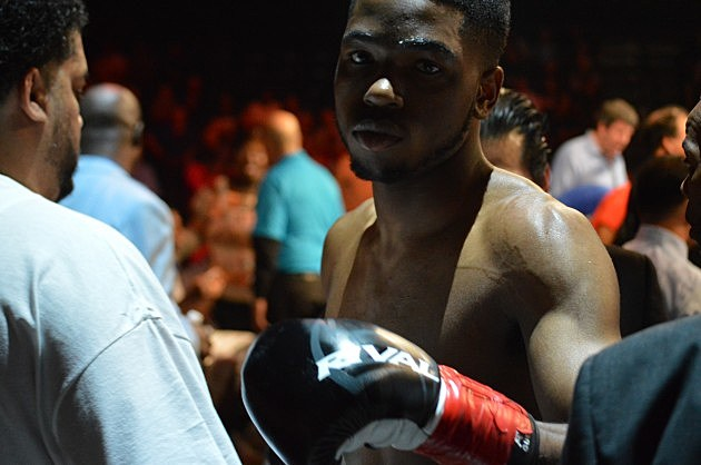 Leo Hall def Bob Wilder via first round knockout (June 6, 2014 ESPN Friday Night Fights at Turning Stone, Verona, NY - photo: Jeff Monaski, WIBX)