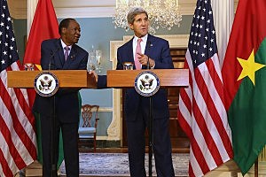 WASHINGTON, DC - AUGUST 04:  Burkina Faso President Blaise CampaorŽ (L) and U.S. Secretary of State John Kerry deliver brief remarks to the news media before a bilateral meeting during the U.S.-Africa Leaders Summit at the Department of State August 4, 2014 in Washington, DC. Obama is set to promote business relationships between the United States and African countries while hosting the first-ever leaders summit, where 49 heads of state will be meeting in Washington over the next three days.(Photo by Chip Somodevilla/Getty Images)