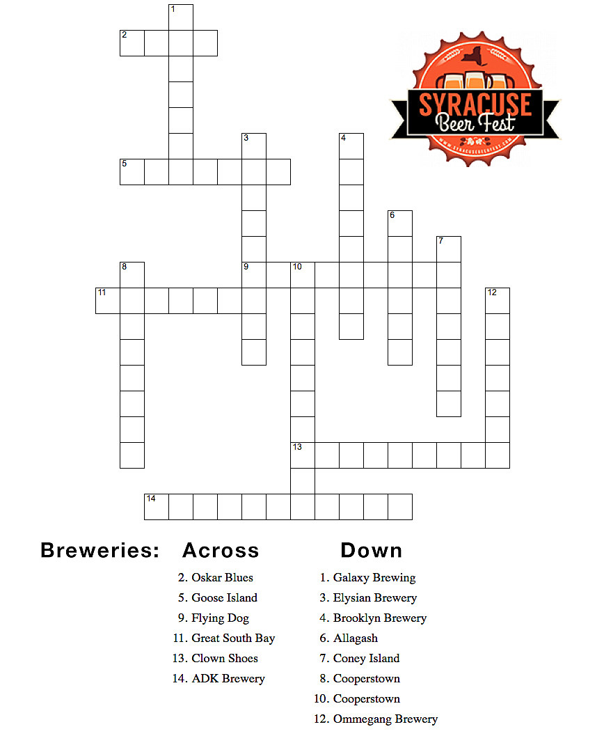 Test your beer knowledge syracuse beer fest crossword puzzle for Plan and print syracuse