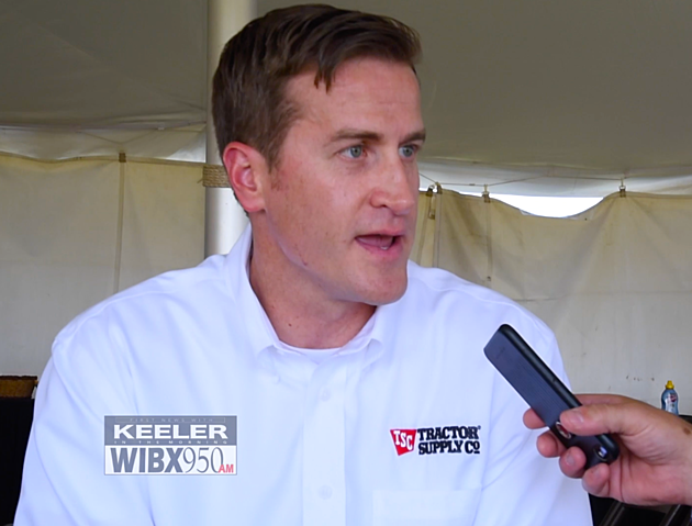 Tractor Supply Executive Colin Yankee sat down with WIBX's Bill Keeler following the ground breaking ceremony at the site of their new distribution center. Wednesday, August 9, 2017 (Photo by Andrew Derminio /WIBX)