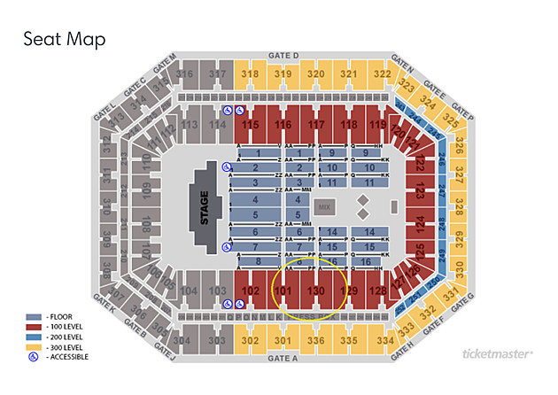 (Screenshot of seating chart from Ticketmaster.com)